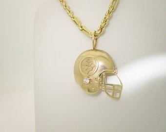 "NFL 14K Solid Gold Diamond Pittsburgh Steelers Football Helmet Pendant & 20"" chain Necklace N256"