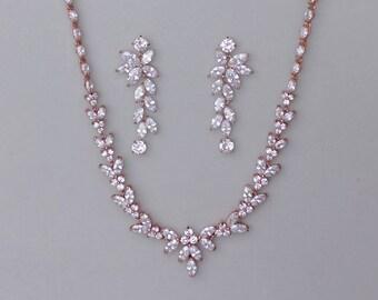 Bridal Jewelry Set, Rose Gold Jewelry Set, Rose Gold Wedding Jewelry Set, DENISE/MAXIME RG