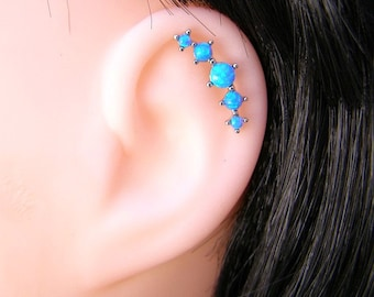 Opal Cartilage Earring , Helix Earring , 5 Blue Opal dots , Helix Piercing , Single , Blue Opal 16ga Stud