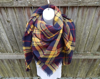 Blue / Yellow Blanket Scarf