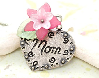 Mom Pendant Necklace,Heart charm with Pink Flower Necklace,Mother's Day Necklace