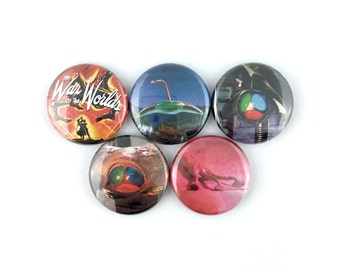 """The War of the Worlds (1953) - 1"""" Button Pin Set"""