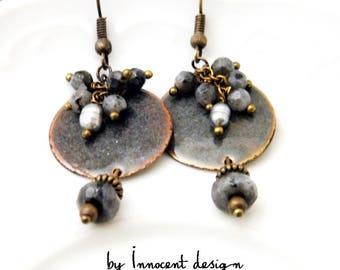 Enamel earrings - Silver - copper - circle  - Ethnic - Galadriel