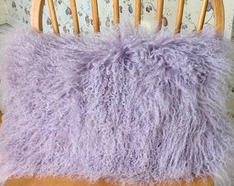 "Genuine Mongolian Lamb Fur Rectangular throw Pillow Cushion Lavander 12""x20"""
