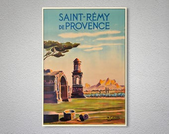 Saint Remy de Provence, France Vintage Travel Poster - Poster, Sticker or Canvas Print / Gift Idea