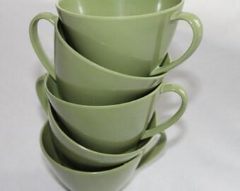 Vintage 1950's Avacado Green Melmac Tea Cups Set of 5