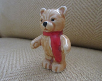 Vintage GOEBEL Miniature Teddy Bear With Red Scarf  Porcelain Figurine Stamped West Germany