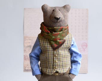 Collectable bear sculpture , Soft sculpture for home décor , Totem bear for gift for bearded , Hipster animal , Cool bear lover