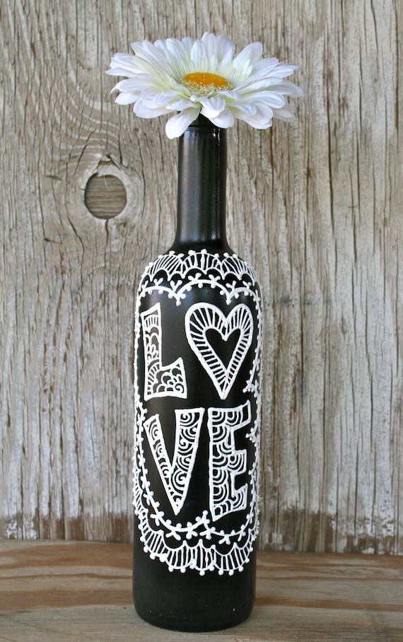 Painted Wine Bottle Love Black and