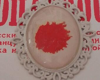 Beige background design Locket pendant Red
