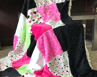 Hot Pink Pieced Minky Blanket