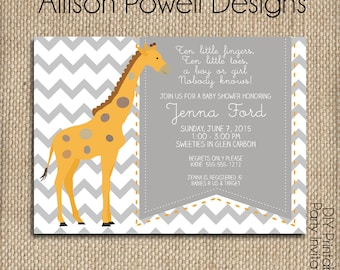 Giraffe Gender Neutral Baby Shower Invitations ,Orange, Grey, White Chevron, Print your own or printed