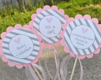 Girls Baby Shower Centerpieces - Pink and Gray - Baby Shower Decorations - Heart and Stripe - Set of 3