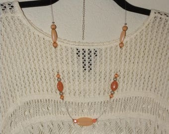 Orange Peach Necklace with Floating Beads