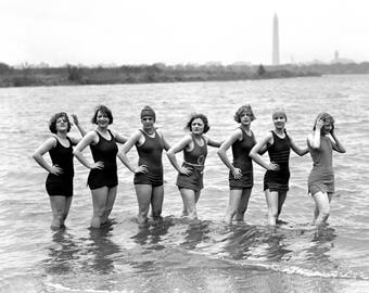 "1921 Bathing Beauties on Arlington Beach Vintage Photograph 8.5"" x 11"" Reprint"