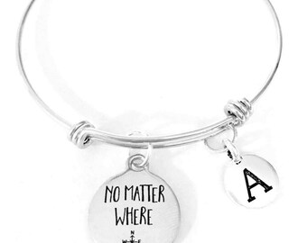 Best Friend Gift, No Matter Where Bangle Bracelet, Initial Bangle, Long Distance Travel Gift, Best Friend Gift Bangle, Sister Gift Bracelet