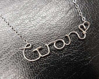 Sterling Silver Name Necklace Gran Personalised Necklace Custom Name Necklace Word Sterling Silver Word Necklace Wire Name Necklace