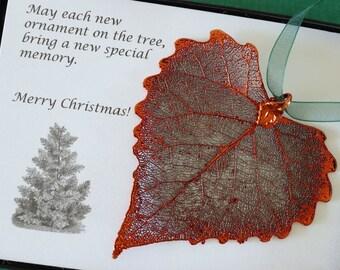 Leaf Ornament Copper, Real Leaf Cottonwood, Cottonwood Leaf Extra Large, Ornament Gift, Christmas Card, ORNA45