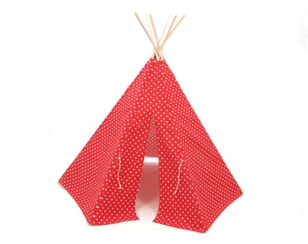 Teepee Play Tent round wood poles included Red and White Small Cross- 6 panel