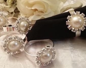 Black Friday Sale, Cyber Monday, Gold Napkin Ring, Napkin Ring Pearl Rhinestone, Crystal Brooch Napkin Ring