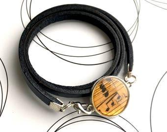 Musician Gift, Music Jewelry, Resin Bracelet, Music Lover Gift, Music Art Bracelet, Black Bracelet, Leather Bracelet, Music Teacher Gift