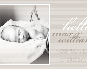 Classic warm gray stripe birth announcement PRINT YOUR OWN