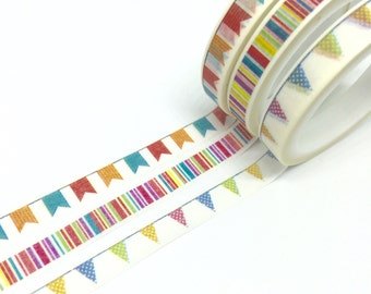 Lot de 3 bandes de Washi Bunting Baner 7 mm x 5 m