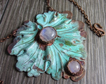 Lily Pad Necklace - Bronze Lily pad with Moonstone on Copper Chain