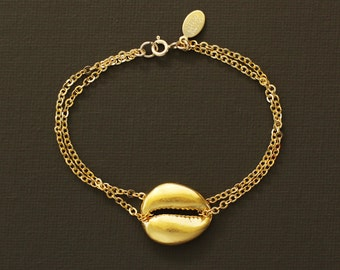 Gold Cowrie Shell Bracelet
