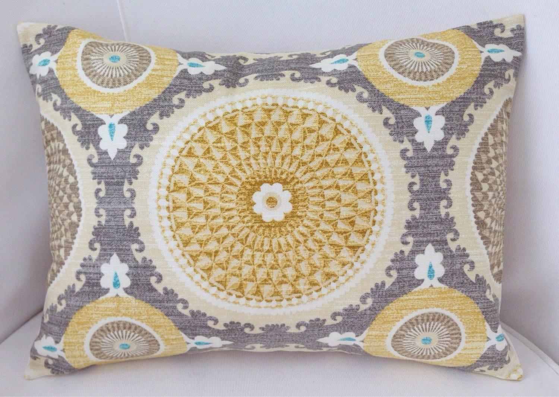 Medallion Pillow Cover Grey Yellow Pillow Decorative Throw