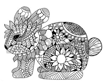 Adult Coloring Download Whimsical Bunny Page Spring Easter
