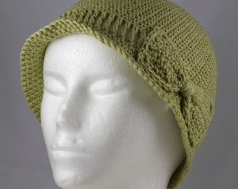 Lightweight Cloche in Celery Green for Cancer Patients - Cancer Hat/Chemo Hat/Cancer Cap/Chemo Cap