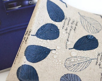 Laminated Linen Fabric - Spring Leaf - Blue - By the Yard 89374
