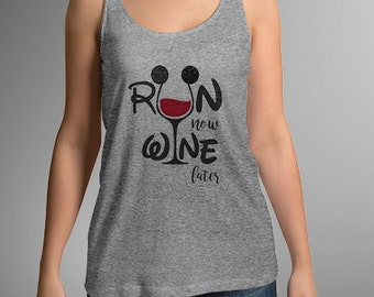Run Now Wine Later RunDisney Inspired Racerback Tank