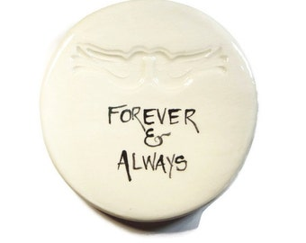 Forever and Always Stamped Doves Dish Hand painted