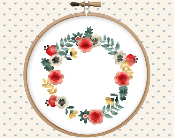 Floral wreath cross stitch pattern pdf instant download