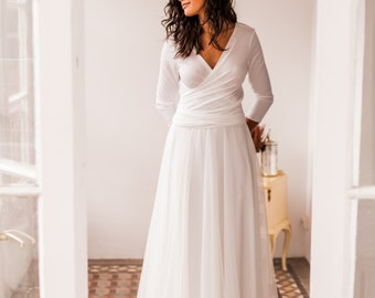 Dotted swiss wedding gown with sleeves, long wedding gown with dotted swiss skirt, white tulle wedding gown with long sleeves, ready to ship