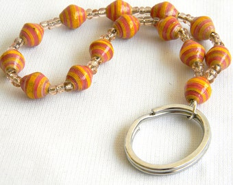 Paper Bead Keychain Wristlet Fob - Fair Trade - #325