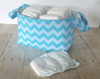 Blue Tonal Diaper Caddy - Fabric Storage Basket - Toy Storage