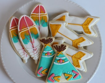 Wild One Sugar Cookies / BOHO party favor/ decorated cookie/ bohemian chic/ Triabl Party favors/ Teepee birthday/ Teepee baby shower