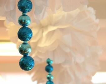 Embellished glitter-drop pom pom kit  SET OF THREE  bridal baby shower first birthday party decoration