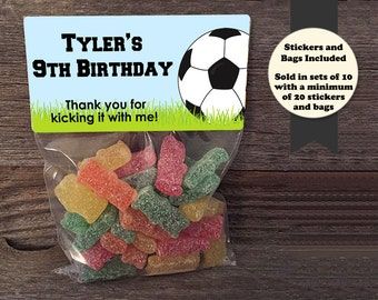 Soccer Birthday Treat Bags, Soccer Stickers and Bags, Sports Party Favors, Soccer Party Favors, Soccer Stickers, Personalized Soccer Favers