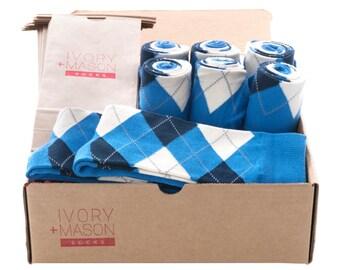 Groomsmen Socks Kit - Blue Argyle - Premium Cotton - 8 Pairs