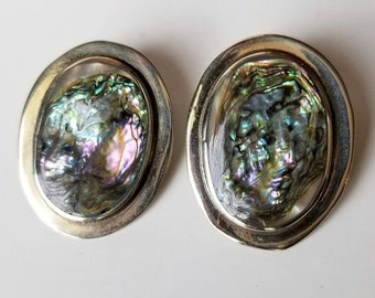 Vintage Mexico Alpaca Silver Oval Earrings - Solid Abalone Mother of Pearl Clip-Ons