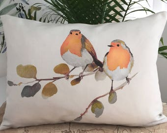 Robin Birds 13x18 Pillow, Unique Watercolor Pillow Cover, Decorative Linen Cushion Cover, Handmade Throw Pillow Case, Bird Pillow Cover