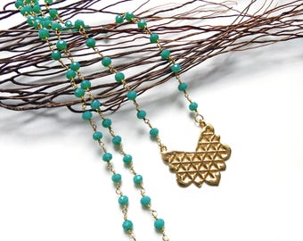 Flower of life necklace Rosary beads emerald green Crystal