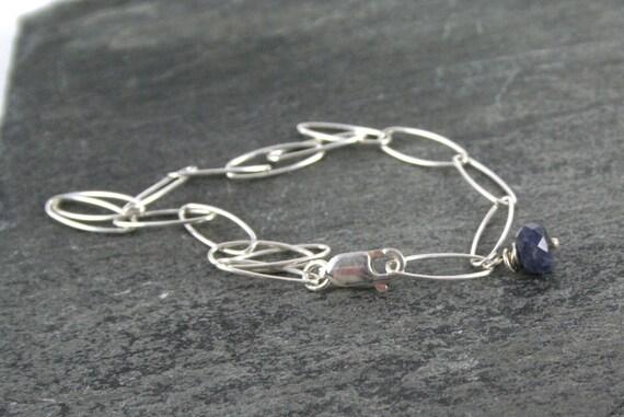 Blue Sapphire Sterling Silver Bracelet Gift under 50