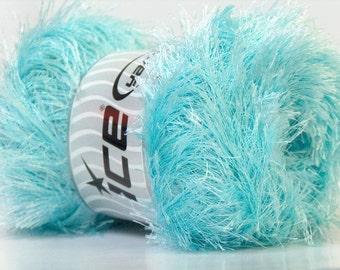 Large 100gram Light Turquoise Blue Eyelash Yarn Ice Fun Fur 164 Yards 22731