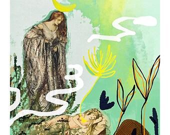 """Tarot High Priestess, Ephemeral Tarot, Abstract Painting, Collage, GICLÉE Art Print 8x12"""""""