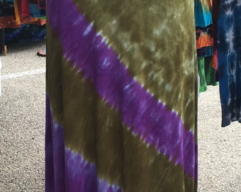 Tie Dye Rayon Jersey Maxi Skirt in Green and Purple